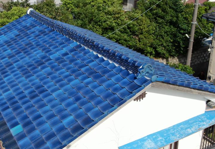 青緑瓦屋根の復旧が完了