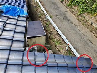 令和元年房総半島台風の影響で袖瓦が割れてしまいました