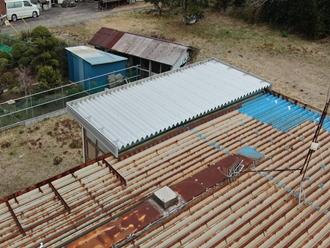 屋根工事、折半