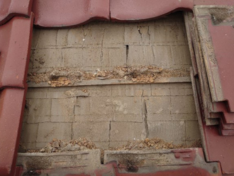 築50年になる邸宅の野地板は劣化が進んでいました