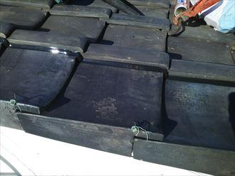 台風でずれた袖瓦のずれを修正
