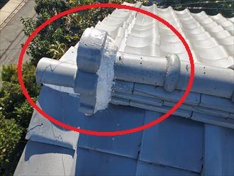 令和元年房総半島台風の被害を受けた鬼瓦や袖瓦