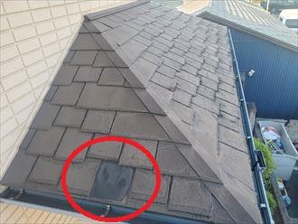 令和元年房総半島台風の影響でスレートが割れて飛散