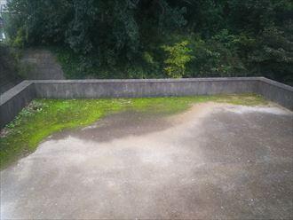 苔や土埃が溜まった陸屋根の調査の様子