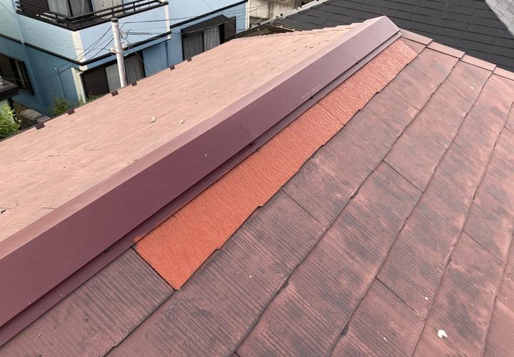 台風による被害を受けたスレート屋根 復旧工事完了