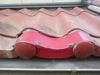 ガルバリウム鋼板で補修したセキスイかわら