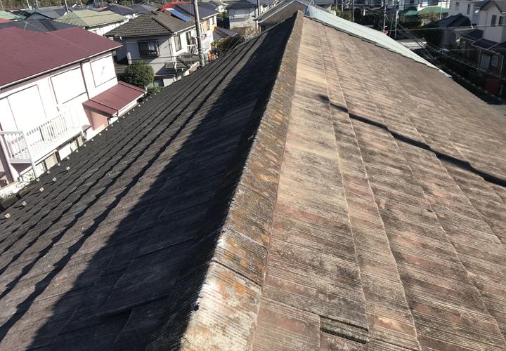 棟瓦取り直し工事を行い歪みが改善されました