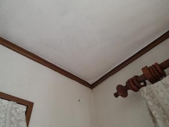 ベランダからの雨漏りによって室内天井のクロスが剥がれています