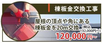 棟板金交換20mを交換した場合は120,000~(税抜)