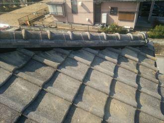 棟取り直し工事にてのし瓦と冠瓦を積んでいきます