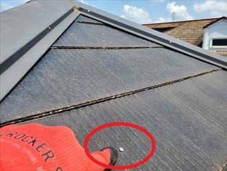 スレート屋根調査にて不必要な釘打ち