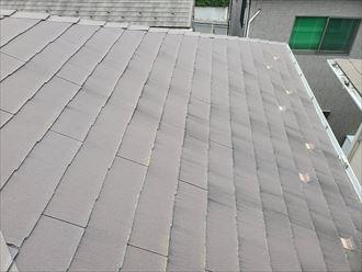 塗膜が剥がれて防水性が低下したスレート屋根の調査の様子