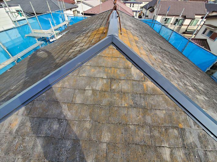 下地材の貫板にタフモックを使用した棟板金交換工事