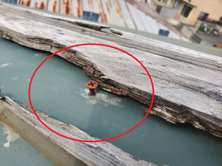 ビス穴から雨水が浸入すると雨漏りに繋がります。