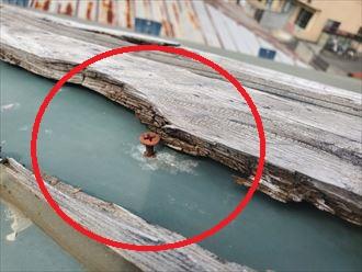 貫板を固定しているビスから雨水が浸入し雨漏りに繋がります