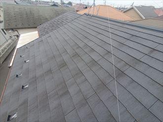 苔が発生しているスレート屋根調査