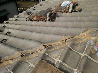 棟取り直し工事にて水糸を張ります