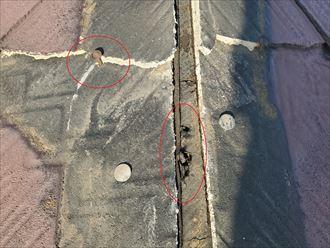 釘浮きと防水紙穴