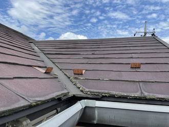 ノンアスベストのパミール屋根には剥離が見られました