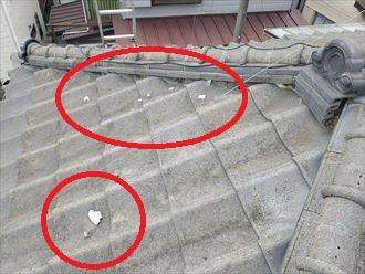 漆喰が剥がれた瓦屋根の調査の様子