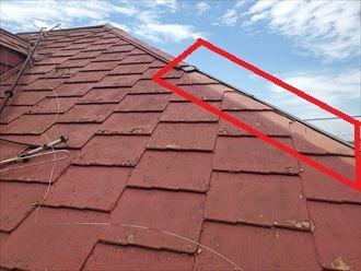 寄棟屋根の隅棟の棟板金が強風で飛散