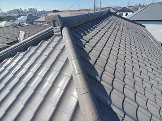 モルタルが落ちてきた瓦屋根の調査