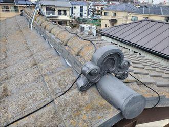 瓦屋根の鬼瓦が傾いているので調査を実施