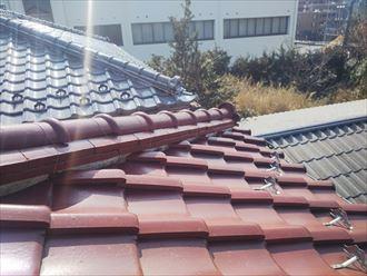 瓦屋根の漆喰調査