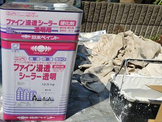 屋根塗装工事にて下塗りの工程