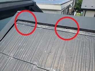 スレート屋根の棟板金の釘浮き