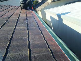 屋根カバー工事にて軒先水切りを設置