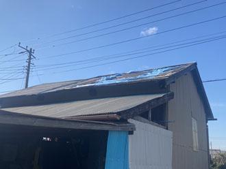 物置のトタン屋根が剥がれていました