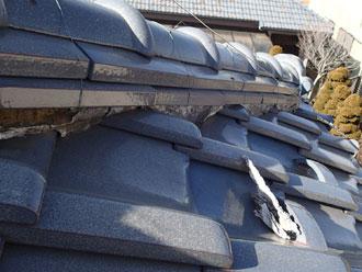 八街市 漆喰の剥がれ 瓦屋根点検