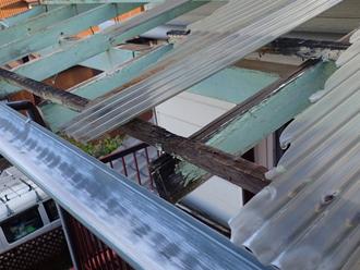 バルコニー屋根 補修 割れ 台風