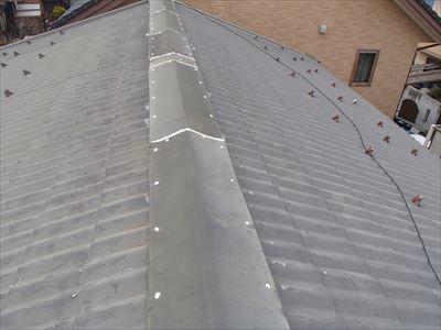 市原市根田にて強風で剥がれてしまった既存の棟板金を利用して復旧工事を実施アフター
