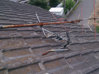 S様 茂原市 台風 アンテナの倒れ 瓦破損 屋根瓦点検