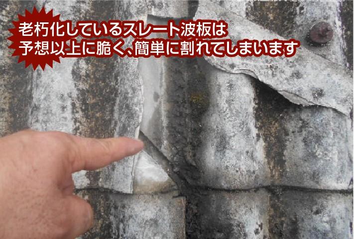 老朽化しているスレート波板は 予想以上に脆く、簡単に割れてしまいます
