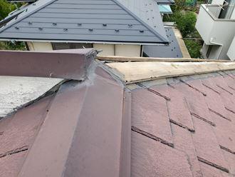 松戸市小山で行った台風15号被害のスレート屋根の隅棟の棟板金飛散