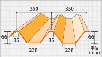 ヨドルーフ66の断面図