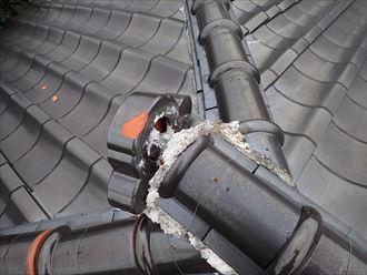 千葉市花見川区 落雷での瓦の被害005_R