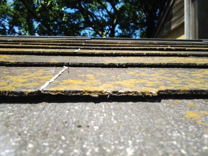 松戸市平賀で行った化粧スレート屋根の調査で塗装メンテナンスでは平らに直せない反りを発見