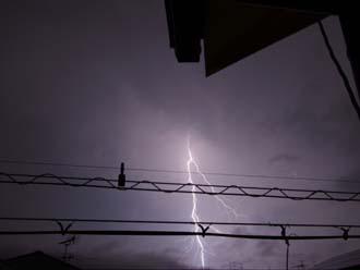 暗闇を切り裂く雷