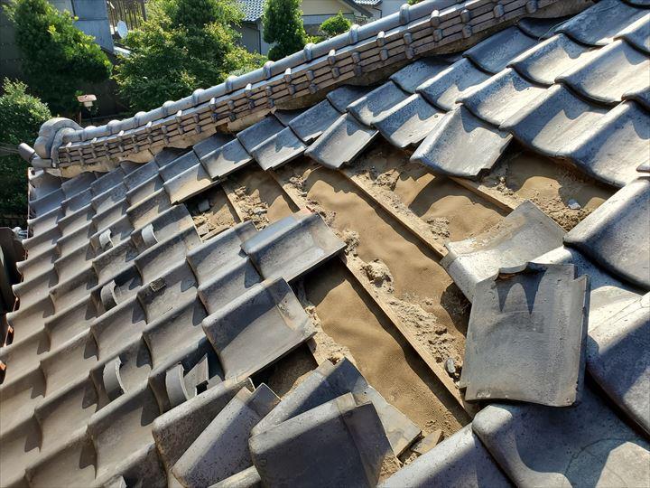 鎌ケ谷市馬込沢で台風15号の強風の影響により瓦が剥がれてしまいました