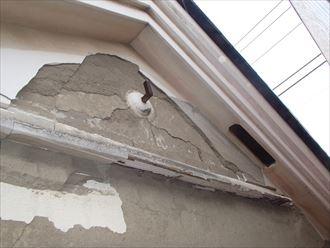 妻側外壁の漆喰剥がれ