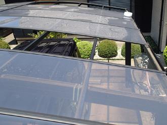 千葉市若葉区にて台風で飛散したカーポートと経年劣化で漆喰の剥がれた瓦屋根を点検