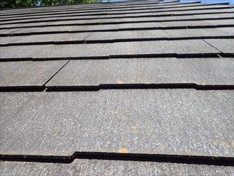 松戸市平賀で行った化粧スレート屋根の調査で屋根全体に反りが発生しています