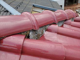 流山市向小金で行った瓦屋根調査で雨漏りに繋がる漆喰の剥がれ