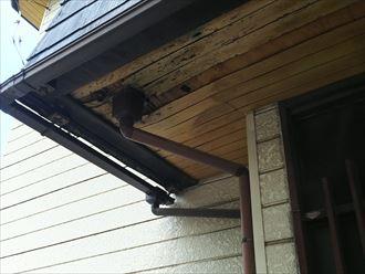 木更津市の玄関庇雨漏り原因は枯葉の詰まりと板金の劣化