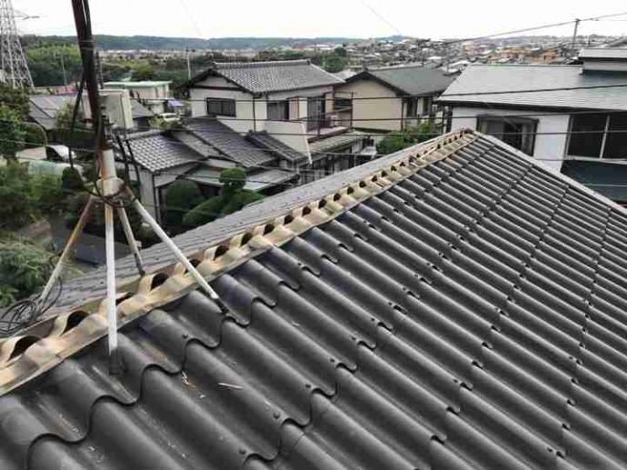 棟板金貫板の撤去作業
