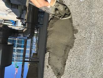 外壁の爆裂をモルタルで補修工事、完了